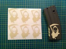 AR Magazine GRIM REAPER DEATH Sticker 6 Pack, AR 15, AK 47, Tan!