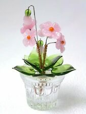 Handmade glass pink mini flower in a pot - New in a box