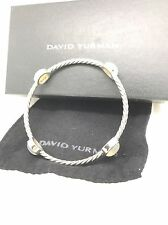 Beautiful David Yurman Sterling Silver Moonstone Station Bangle Bracelet - Clean