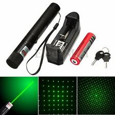532nm 5mw Green Laser Pointer Pen Beam Adjustable Focus + Light Star Cap+Battery