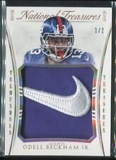 2015 National Treasures Tremendous Odell Beckham Jr Nike Swoosh Patch Jsy (1/2)