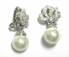 White CZ and Cream Shell Pearls Sterling Silver Ribbon Bow Drop Earrings
