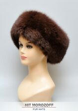 Brown FOX Fur Roller Hat w/ Black MINK Top Pelzmütze Chapka Fellmütze Fuchs Nerz