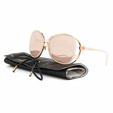 Linda Farrow Luxe LFL 166 Sunglasses C15 Rose Gold Pale Pink / Rose Gold Mirror
