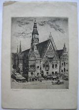 Breslau Wroclaw Rathaus Orig Radierung B. Reinhard um 1910 signiert Polen Slask