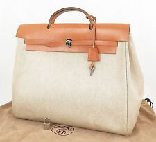 Authentic HERMES Her Bag Beige Canvas and Leather Hand Bag Purse #22887