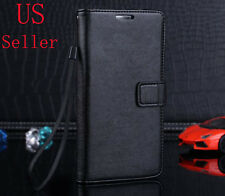 Black Genuine Leather Flip Wallet Stand Case Cover For Samsung Galaxy Note 3 III