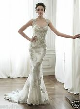 Sexy Long Mermaid Lace Open Back Applique Wedding Dresses Bride Gowns Custom