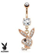 Rose Gold PLAYBOY BUNNY Dangle BELLY Button NAVEL Bar RING Piercings Jewelry