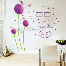 Purple Dandelion Flowers Butterfly Removable Room Mural Wall Sticker Decal Decor