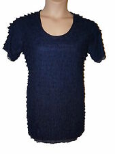 BNWT size Large KIM & CO SHUTTER PLEAT Ladies TUNIC TOP in NAVY w SHORT SLEEVES