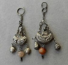 2 Antique CHINESE SILVer Snuff Bottle Waist Charm/Pendant -w/ FOO Dog Screw Top