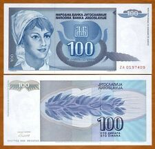 Yugoslavia, 100 Dinara, 1992 P-112, ZA-Prefix, UNC > Scarce replacement