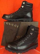 NIB GUCCI BLACK LEATHER CANVAS GG GUCCISSIMA WEB COMBAT BOOTS 13.5 14.5  #295321