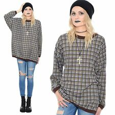 Vintage 90s Plaid GRUNGE Revival Seattle OVERSIZED Slouchy Jumper Shirt Top
