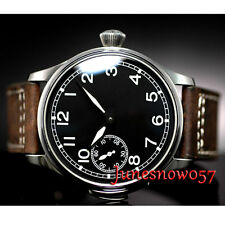 Parnis 44mm Black dial luminous swan neck 6497 hand-winding movement men's watch