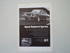 advertising Pubblicità 1969 OPEL REKORD SPRINT