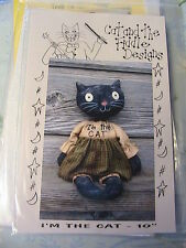 """PRIMITIVE BLACK CAT~Gini Simpson OOP 2005 AWESOME USA 10"""" cloth art doll pattern"""