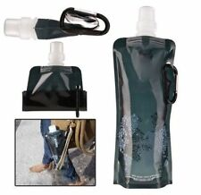 Black 480ml Folding Foldable Water Bottle Plastic Running Outdoor Sport HOT