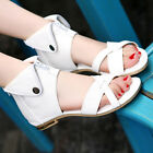 Plus Size Womens Roman Open Toe Strap Cross Zipper High Top Sandals Shoes Unique