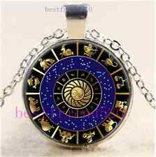 Signs of the Zodiac Cabochon Glass Dome Silver Chain Pendant Necklace