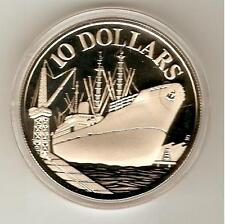 1977 SINGAPORE SILVER Coin $10 SILVER - INDEPENDENCE - SHIP - KM# 15,COA PROOF *