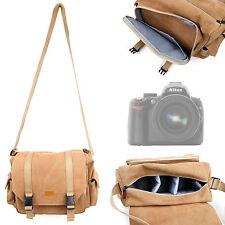 Deluxe DSLR SLR Camera Vintage Canvas Satchel Case Bag For Nikon D5000, D3100