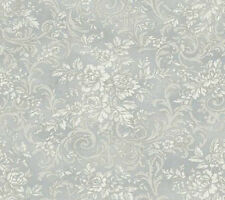 "12""/31cm Wallpaper SAMPLE Silver Floral Scroll Damask"