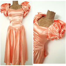 Vintage 80s Satin Prom Dress Size Small Puff Sleeve Ball Gown Formal Evening
