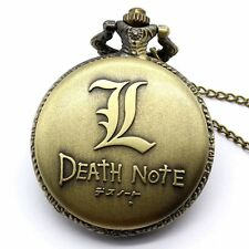 Punk Skull Digital Display Death Note Pocket Watch Necklace Pendant Men's Gift