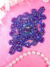 JB115 Purple Applique Crystal Rhinestone Purple Beaded Patch Motif Crafts 4""