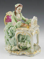 MZ Irish Dresden Figurine LACE LADY WRITING THE LOVE LETTER EMERALD COLLECTION