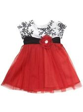 Rare Editions Girls Red / White Toile to Mesh CHRISTMAS Holiday Dress 18M New