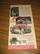 1947 Print Ad Karriall Kamper Tent Camping Trailers Chicago,IL
