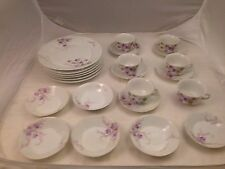 PORCELAIN CHINA SET hand painted VIOLETS PLATES CUPS SAUCERS FRUIT DISHES 24 pc