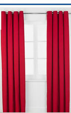 66x90 Poppy Red Ring Top Curtains Readymade Kids Girls Boys Bedroom Eyelet