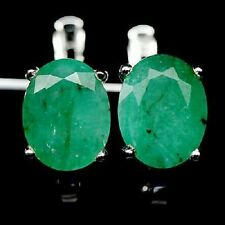 Awesome Elegant Natural AAA Top green Emerald 925 Sterling Silver Earrings