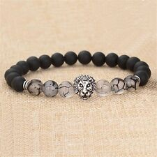 Hot Men Fashion Black Lava Stone Silver Lion Beaded Cuff Charm Bangle Bracelet