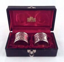Corbell and Company Silver Plate Repousse Ornate Crest Napkin Rings in Box Vtg