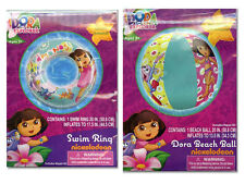 Dora The Explorer Girls Inflatable Swim Ring Tube Float + Pool Beach Ball Toy