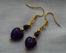 Unique handmade earrings amethyst heart shaped beads gold plated  free stoppers