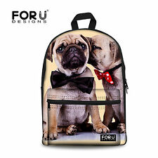 Trend Pug Dog Women Cotton Campus Backpack Schoolbags Bagpack Travel College Bag