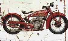 Indian 101 Scout 1928 Aged Vintage SIGN A3 LARGE Retro