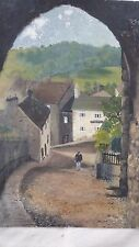 J M Naylor Signed Original Oil Painting on Board Yorkshire Town & Bridge Viaduct