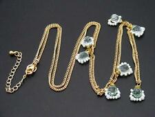 """$18 Nordstrom Green & White Beaded Station Necklace Goldtone Chain 41"""" Long"""