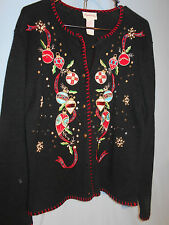 WOMENS UGLY CHRISTMAS SWEATER HOLIDAY CARDIGAN ORNAMENTS MEDIUM