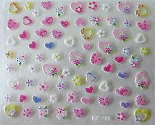 Nail art Stickers bijoux d'ongles autocollants mode: Jolis cœurs et fleurs