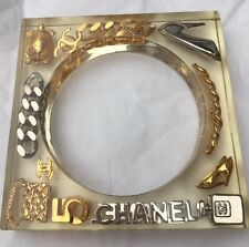ULTRA RARE COLLECTOR VINTAGE CHANEL 97P SQUARE LUCITE CHARM BANGLE CUFF BRACELET