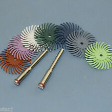 14pcs Radial Bristle Disc Brush Polisher + 4 mandrels 2.35mm Dental Wood Jewelry