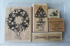 "Stampin Up Fruit of the Season set of 5 ""Retired"" Wreath, Topiary Tree, Greeting"